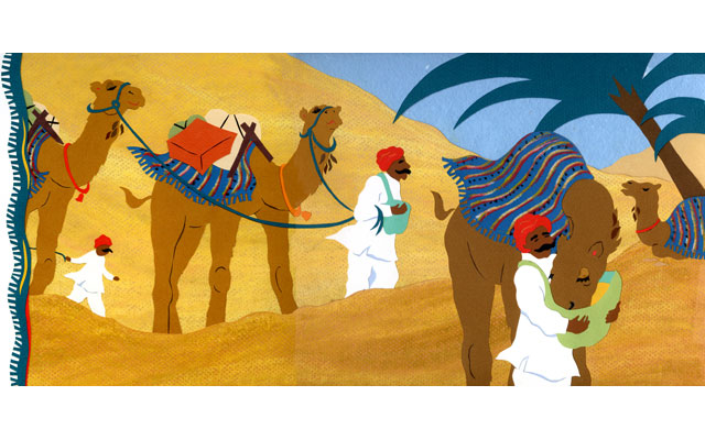 Camel Caravan - illustration (Tambourine Books)